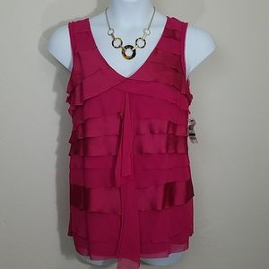 Tank top sleeveless blouse ruffle fuchsia stretch